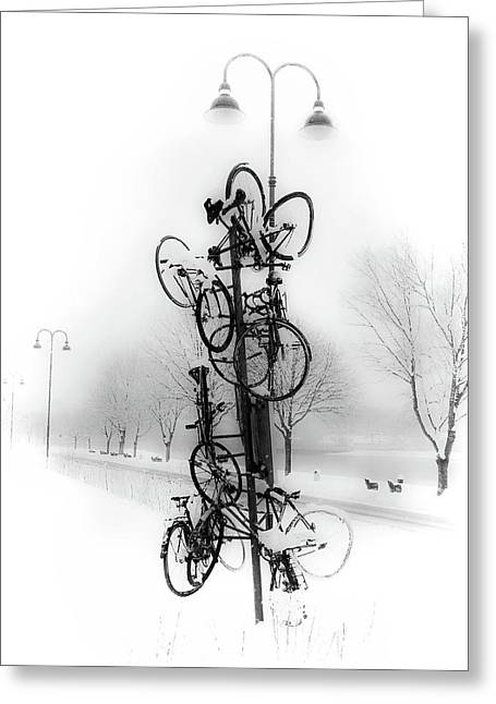 Bicycle Lamppost In Winter Greeting Card