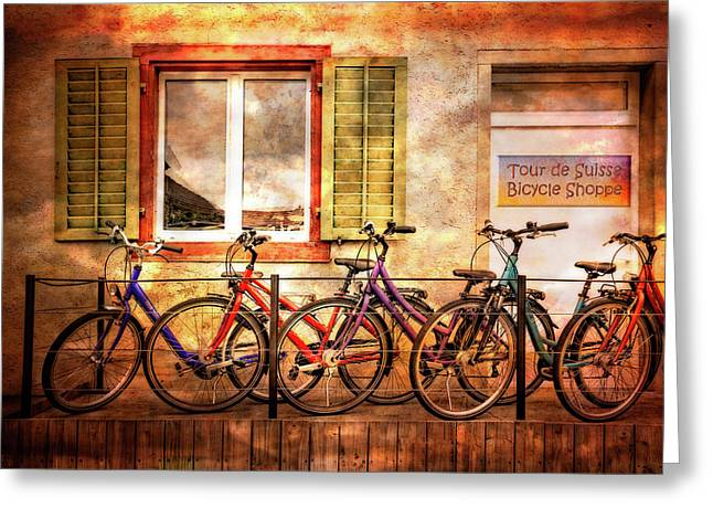 Bicycle Line-up Greeting Card by Debra and Dave Vanderlaan