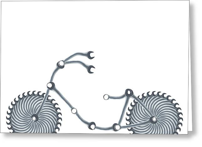 Bicycle Made Of Spanners Greeting Card