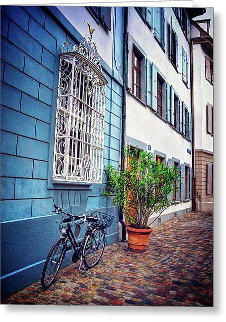 Bicycle On A Cobbled Lane In Basel Switzerland Greeting Card
