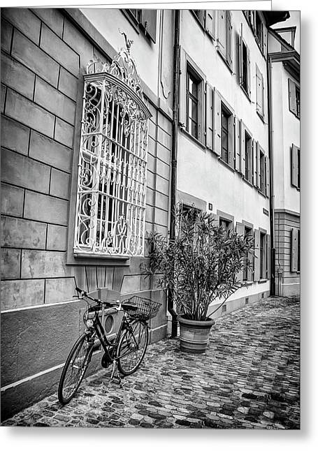 Bicycle On A Cobbled Street In Basel  Greeting Card