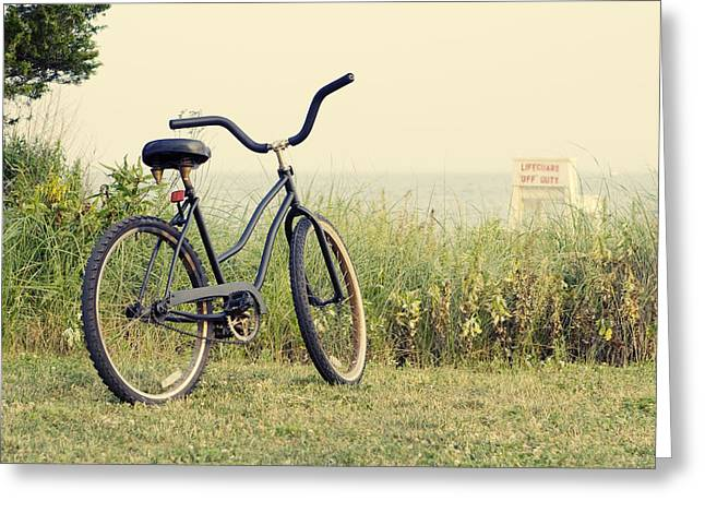 Beach House Greeting Cards - Bicycle on Beach Summers on the Coast Greeting Card by Stephanie McDowell