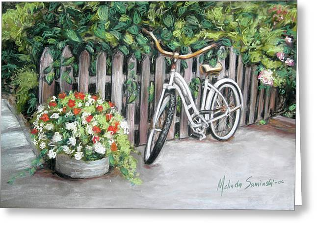 Greeting Card featuring the painting Bicycle On Fence by Melinda Saminski