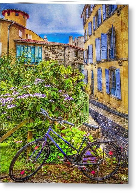 Bicycle On The Square Greeting Card by Debra and Dave Vanderlaan