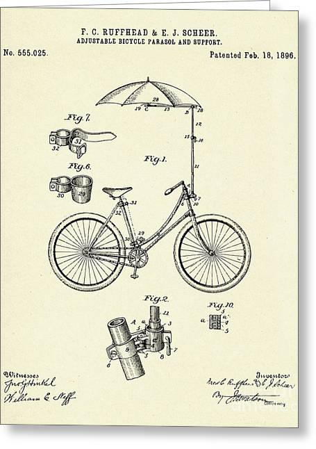 Bicycle Parasol-1896 Greeting Card by Pablo Romero