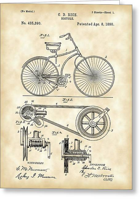 Bicycle Patent 1890 - Vintage Greeting Card by Stephen Younts