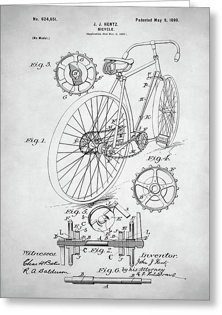 Bicycle Patent Greeting Card by Taylan Apukovska