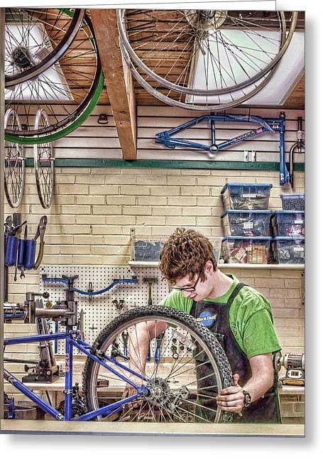 Bicycle Repair - Recycle Shop Greeting Card by Nikolyn McDonald