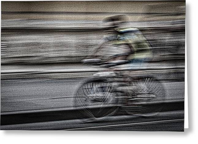 Bicycle Rider Abstract Greeting Card
