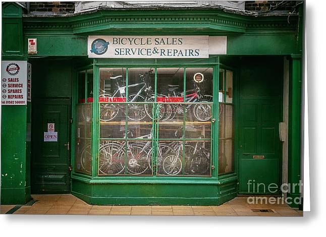 Greeting Card featuring the photograph Bicycle Sales, Service And Repair by Craig J Satterlee