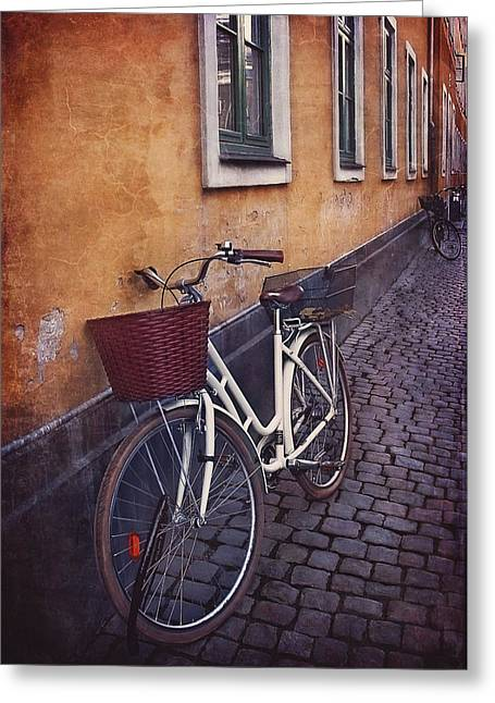 Bicycle With A Basket Greeting Card by Carol Japp
