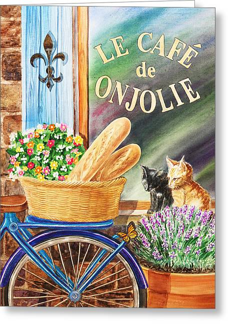 Bicycle With Basket At The Cafe Window Greeting Card by Irina Sztukowski