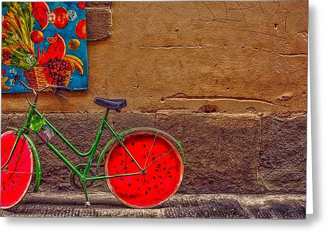 Bicycle With Watermelon Wheels Greeting Card