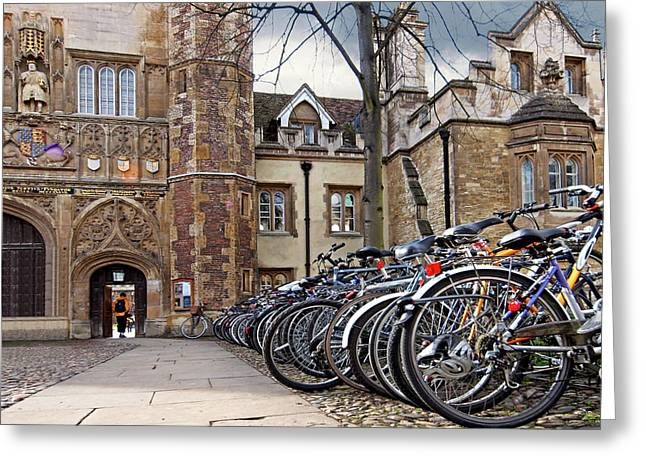Bicycles At Trinity College Cambridge Greeting Card by Gill Billington