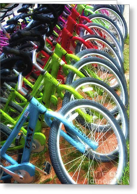 Bicycles On Florida County Road 30-a Greeting Card by Mel Steinhauer