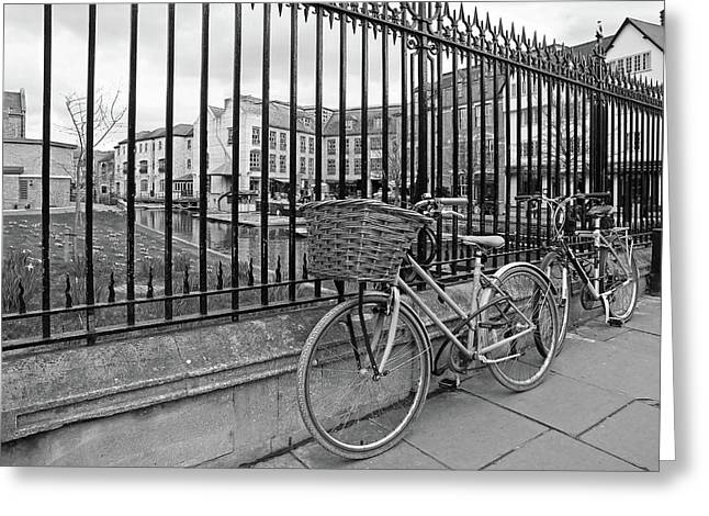 Greeting Card featuring the photograph Bicycles On Magdalene Bridge Cambridge In Black And White by Gill Billington