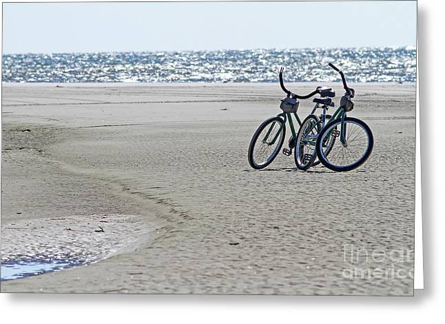 Bicycles On The Beach Greeting Card