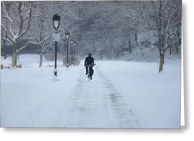 Bicycling In The Snow - Fairmount Park Greeting Card by Bill Cannon