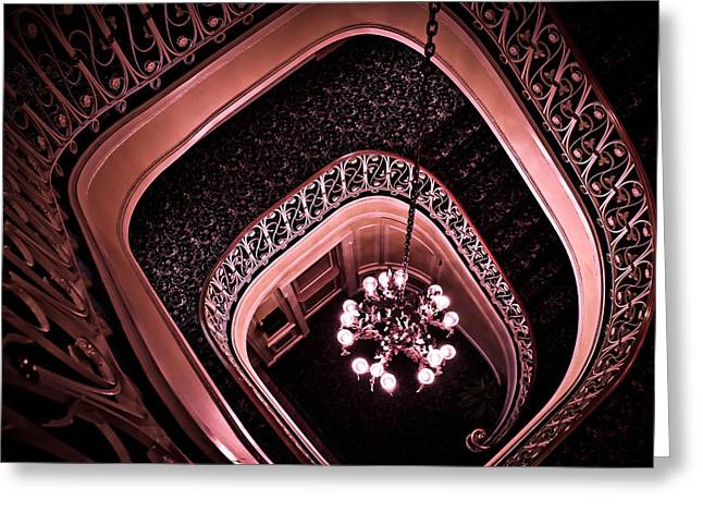 Biddle Mansion Staircase - Pink Greeting Card by Colleen Kammerer