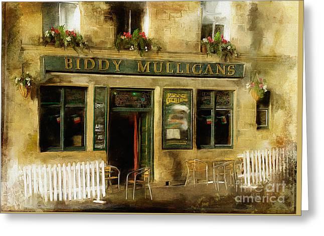 Biddy Mulligans Pub Greeting Card by Lois Bryan