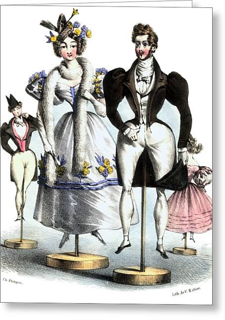 Biedermeier French Fashion -les Fashionables Greeting Card