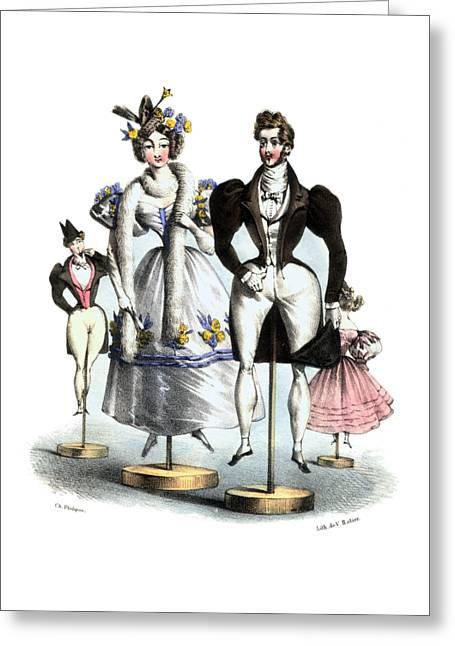 Biedermeier French Fashion -les Fashionables Greeting Card by Village Antiques