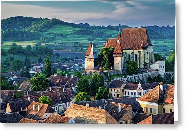Biertan Church Dawn - Romania Greeting Card