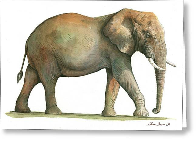 Big African Male Elephant Greeting Card by Juan Bosco
