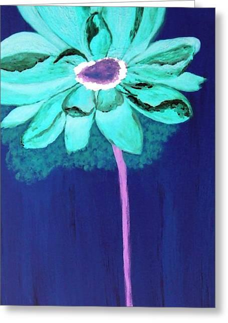 Big Aqua Flower Greeting Card by Jamie Frier
