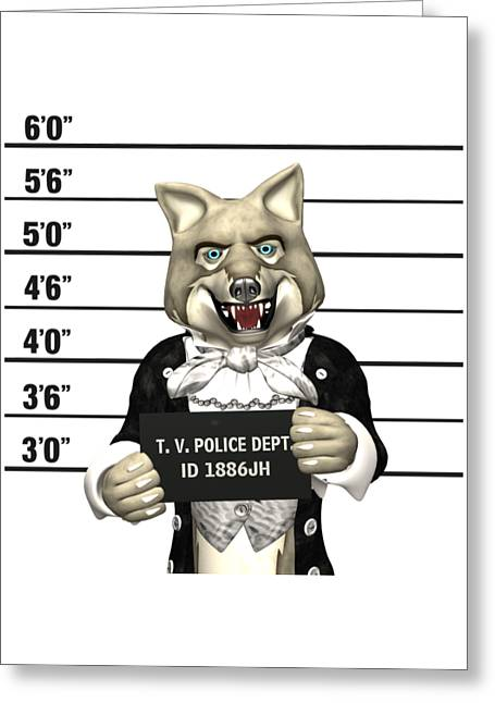 Greeting Card featuring the digital art Big Bad Wolf Mugshot by Methune Hively