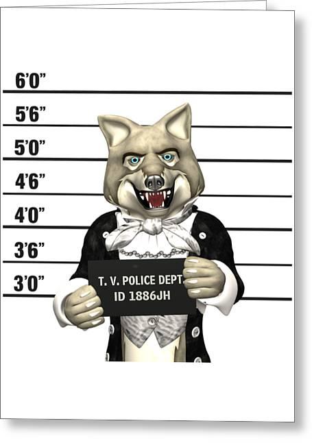 Big Bad Wolf Mugshot Greeting Card by Methune Hively