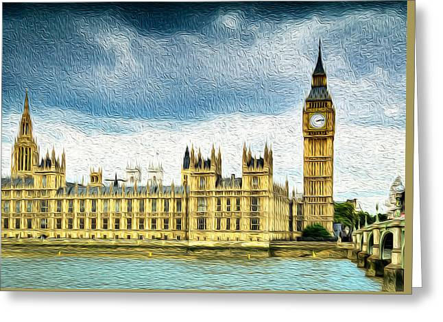Big Ben And Houses Of Parliament With Thames River Greeting Card