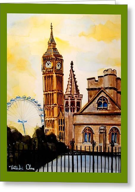 Big Ben And London Eye - Art By Dora Hathazi Mendes Greeting Card by Dora Hathazi Mendes
