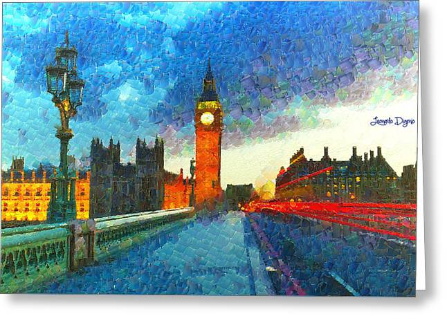 Big Ben At Night - Da Greeting Card by Leonardo Digenio