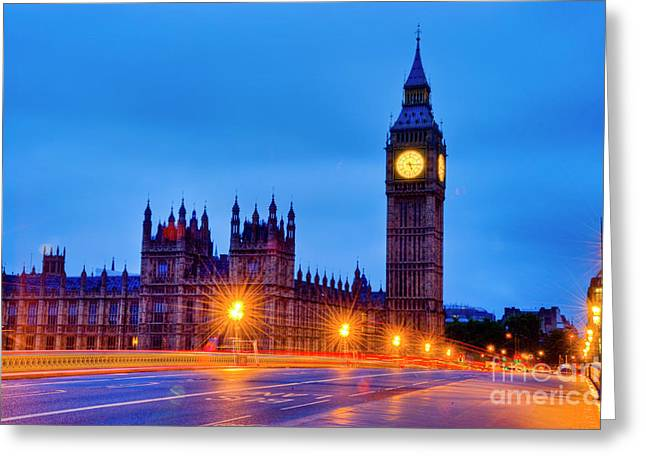 Big Ben At Night Greeting Card by Donald Davis