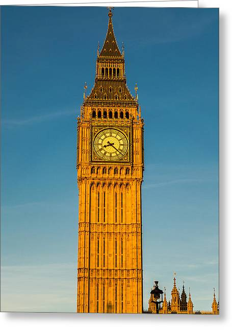 Big Ben Tower Golden Hour London Greeting Card