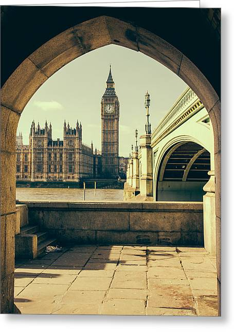 Big Ben Under The Arch Greeting Card by Pati Photography