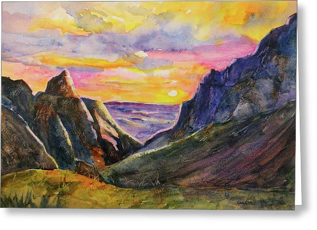 Greeting Card featuring the painting Big Bend Texas Window Trail Sunset by Carlin Blahnik CarlinArtWatercolor