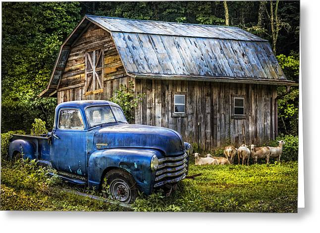 Big Blue At The Farm Greeting Card by Debra and Dave Vanderlaan