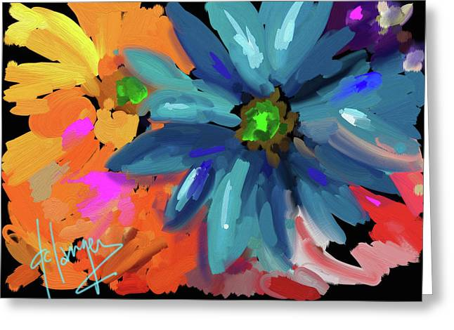 Greeting Card featuring the painting Big Blue Flower by DC Langer