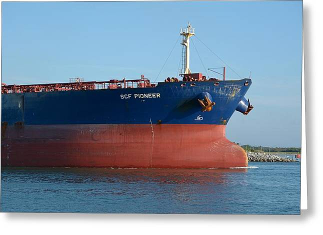 Greeting Card featuring the photograph Big Blue Tanker Bow by Bradford Martin