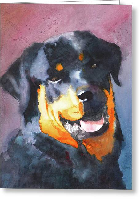 Rottweiler Puppy Greeting Cards - Big Bob Greeting Card by Ally Benbrook