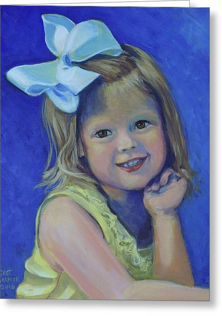 Big Bow Little Girl Greeting Card