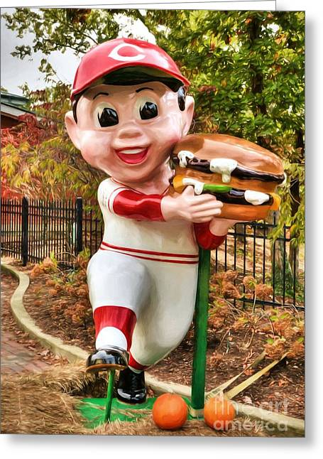 Big Boy Is A Cincinnati Reds Fan Greeting Card by Mel Steinhauer
