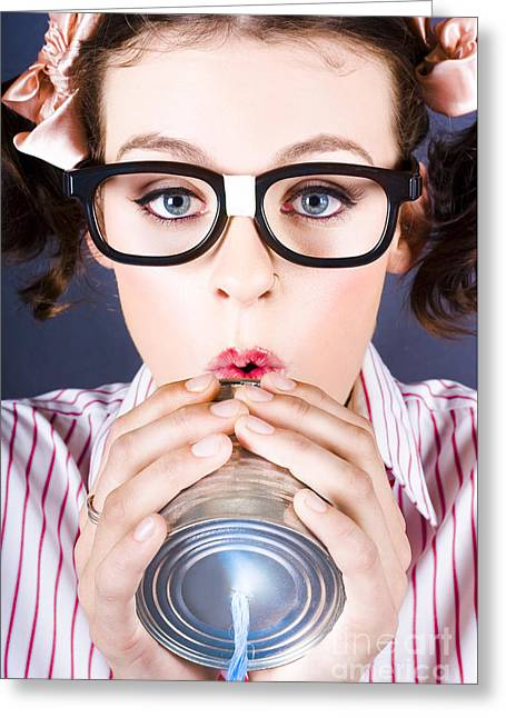 Big Business Kid Making Phone Call With Tin Cans Greeting Card by Jorgo Photography - Wall Art Gallery