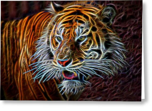 Greeting Card featuring the digital art Big Cat by Aaron Berg