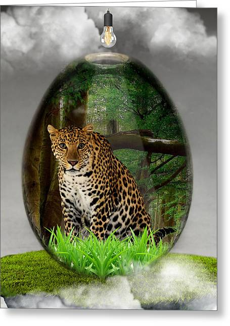 Big Cat Leopard Art Greeting Card