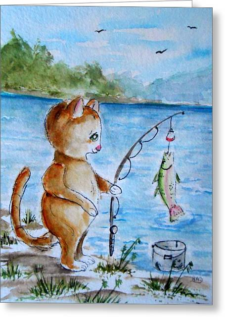 Big Catch Of The Day Greeting Card by Rita Drolet