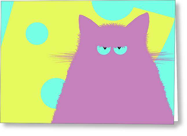 Big Cheese Lilac Cat Greeting Card