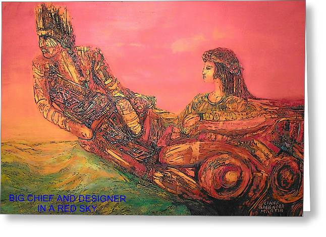 Wooden Ship Jewelry Greeting Cards - Big Chief and Designer in a Red Sky Greeting Card by Whitey Martin